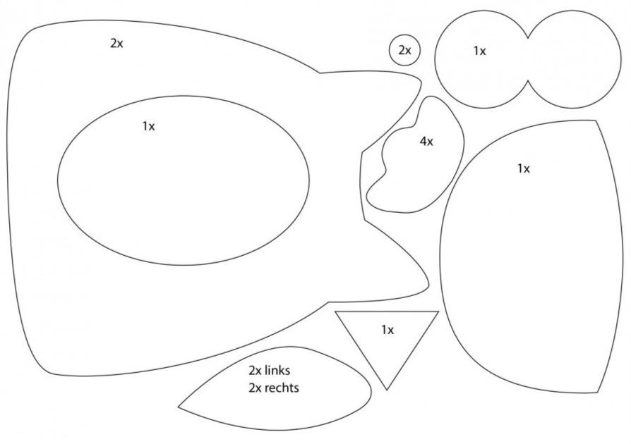 A4 Schnittmuster für selbstgemachten Türstopper in Eulenform