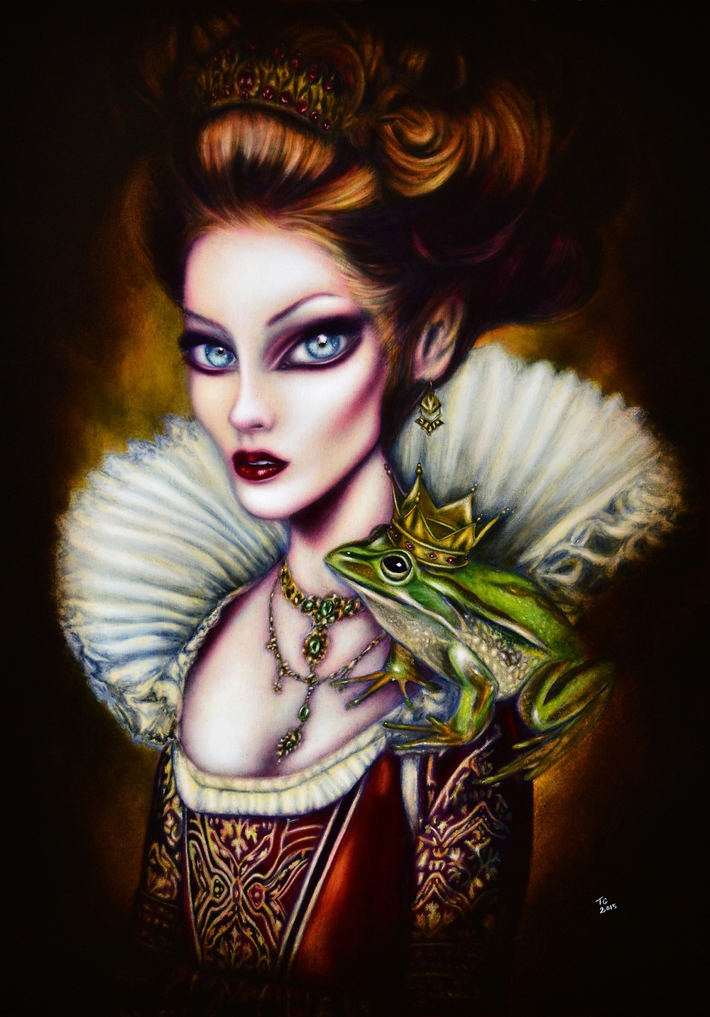 painting of the frog princess with a frog on her shoulder and royal jewlery by tiago azevedo a lowbrow pop surrealism artist