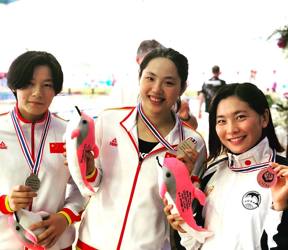フィンスイミングワールドカッププーケット髙津奈々銅メダル