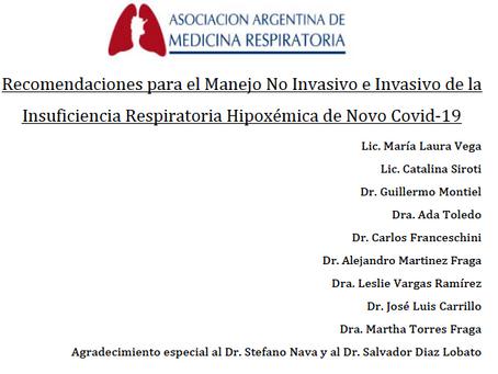 Recomendaciones Argentinas para el Manejo No Invasivo e Invasivo de la IRA Hipoxémica por COVID-19