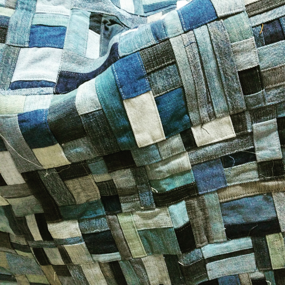 Patchwork made from pieces of jeans