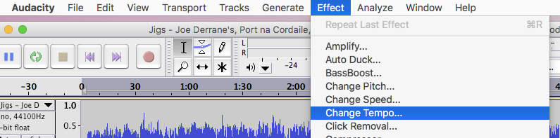 "On the Audacity menu bar, choose ""Effect"" then ""Change Tempo""."