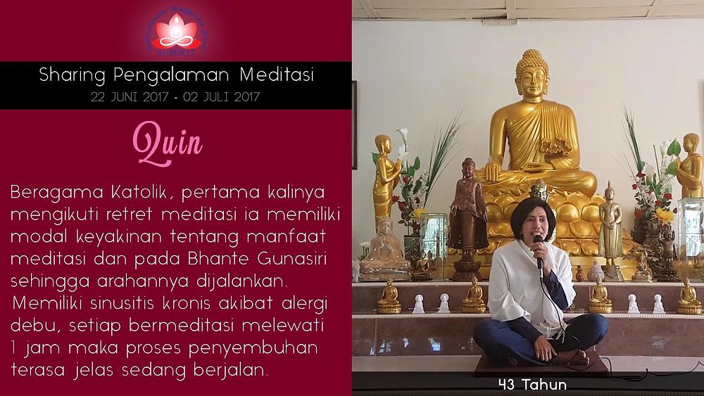 Penyembuhan sinusitis dengan Meditasi - Sharing oleh QUIN