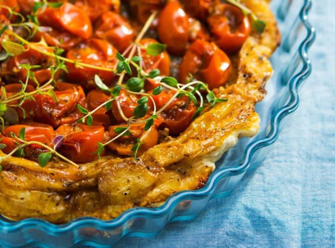 tarte tarin su pomidorais, pyragas su pomidorais, pomidorai, Alfo receptai