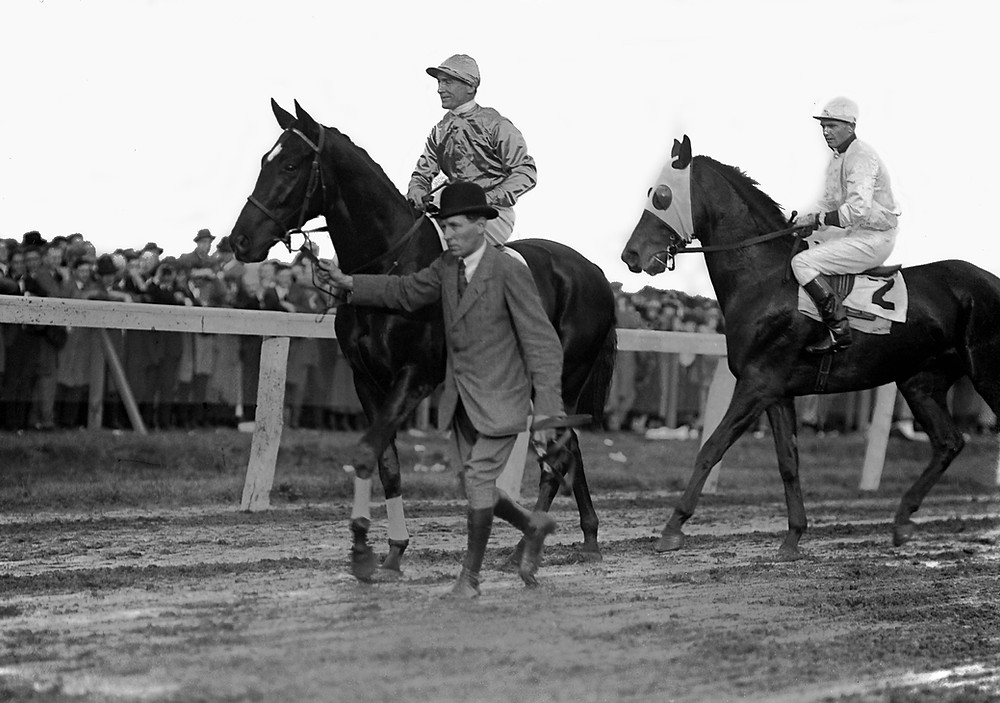 British racehorse Papyrus and 1923 Kentucky Derby winner Zev in the post parade for The Great International Race, October 10th, 1923