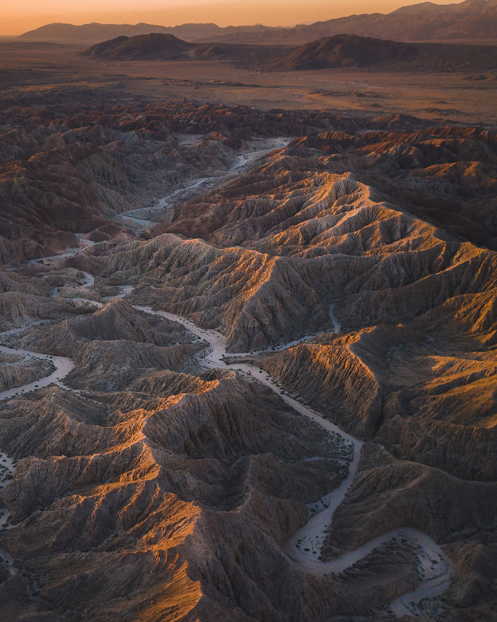 Aerial view of the badlands in California