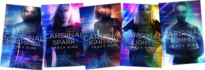 The Cardinal Machines novels by Tracy Eire, up to book 5, showing the heroine of the books, Zoey, but not showing her android Ocean.