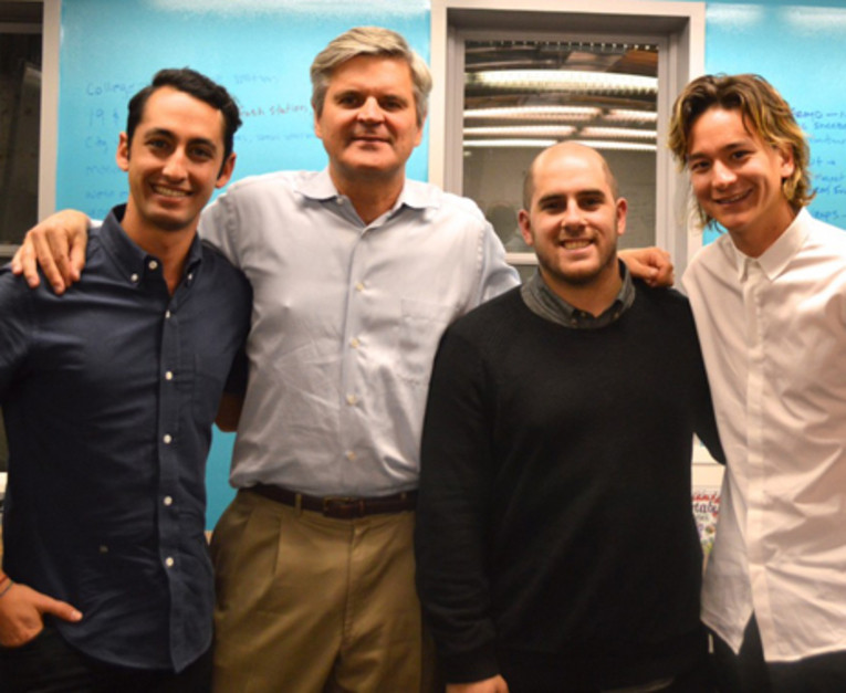 Investor and AOL founder Steve Case, second from left, poses with Sweetgreen founders Jonathan Neman, Nicolas Jammet, and Nate Ru (from left). Case counts Sweetgreen among the investments in his portfolio at Revolution LLC.