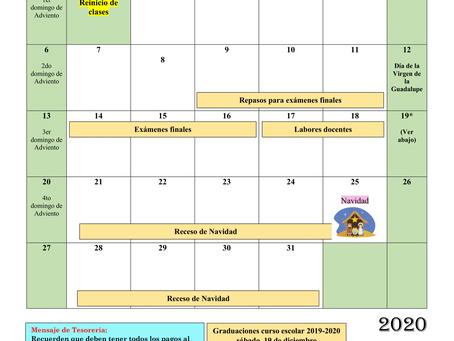 Calendario de diciembre 2020 (Sujeto a cambios)
