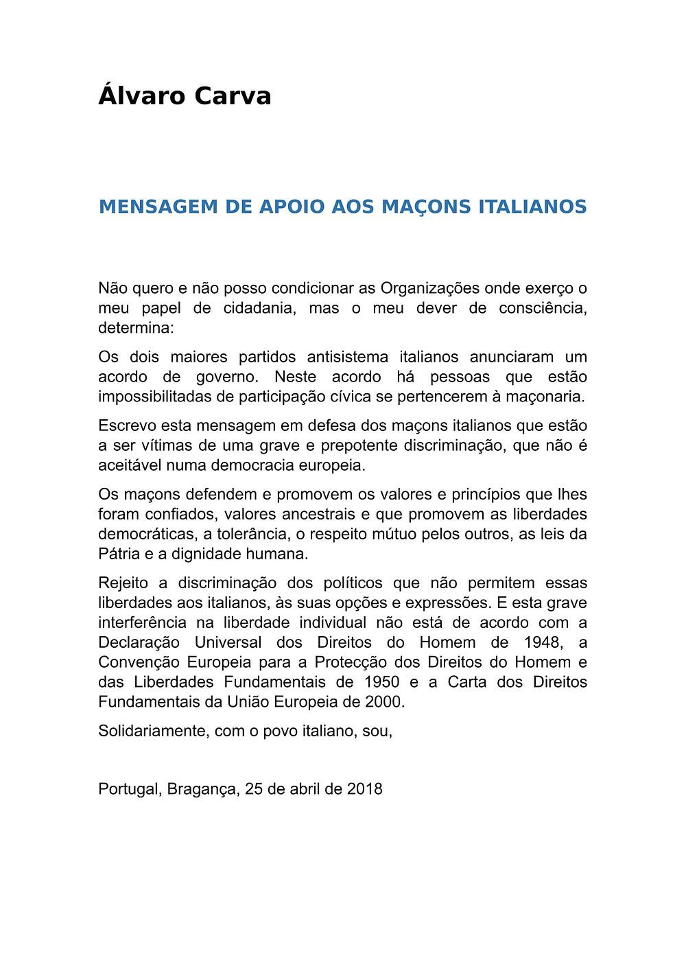 Álvaro Carva dá apoio aos maçons italianos