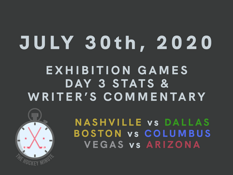 July 30th 2020 - Exhibition Games Day 3/3 stats & writer's commentary