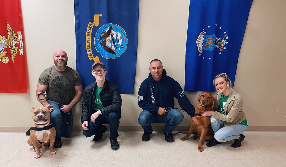 photo of service dogs with their trainers and ohio marijuana card