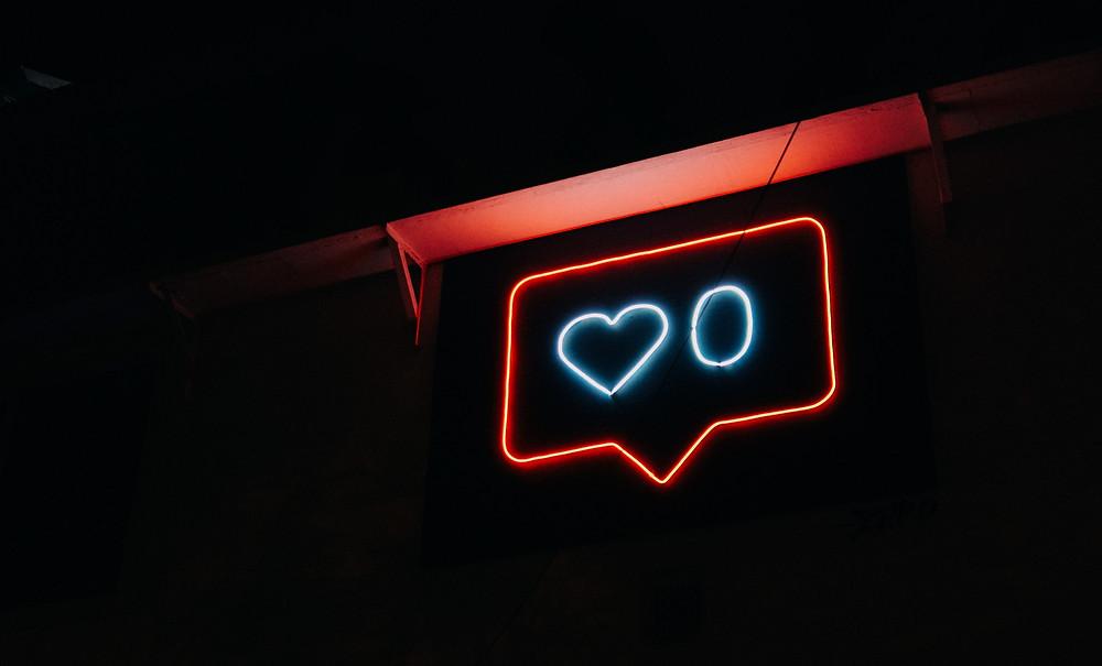 Neon sign, social media no likes