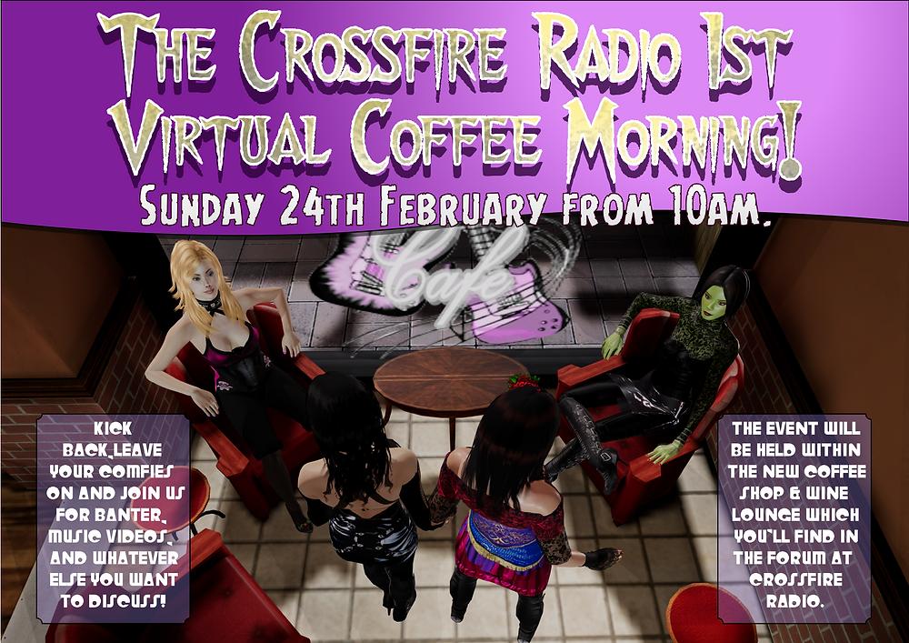 Promo for the Crossfire Radio Virtual Coffee Morning!