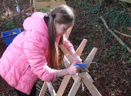 Bracelet making, fire making and den building was on the agenda in Year 6's Forest School today.