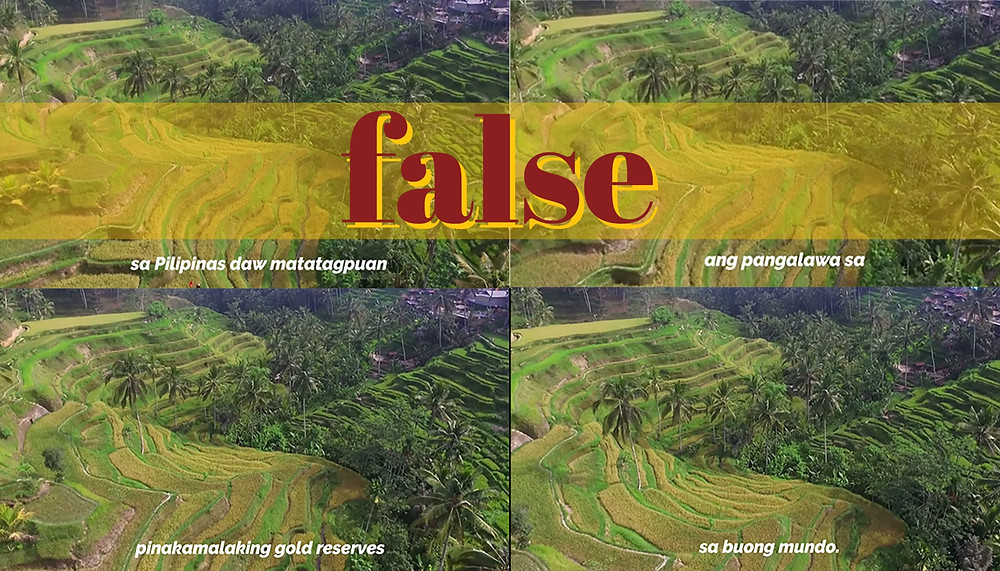Scenes from video falsely claiming Philippines has world's second biggest gold reserves