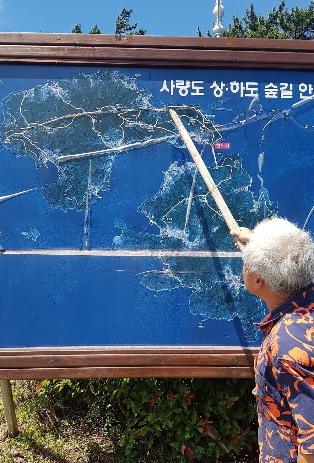 Man points to a map