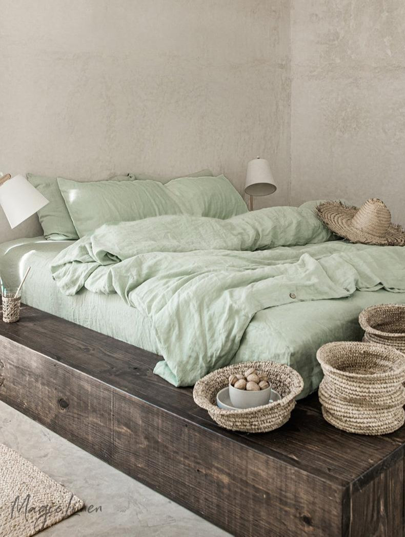 sage green linen bedding eco friendly and handmade. Click on the image to shop directly from the maker.