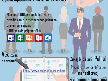 Zakaj kar 86% delodajalcev raje zaposli diplomante z MOS certifikati?
