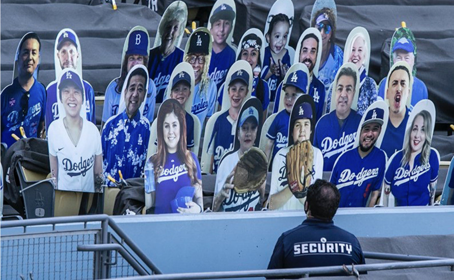 A crowd of pretend fans at a recent exhibition game at Dodger Stadium