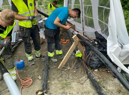 Forberedelser for ny bru over Nidelva - ON Energi sørger for omlegging av høyspentlinjen i området
