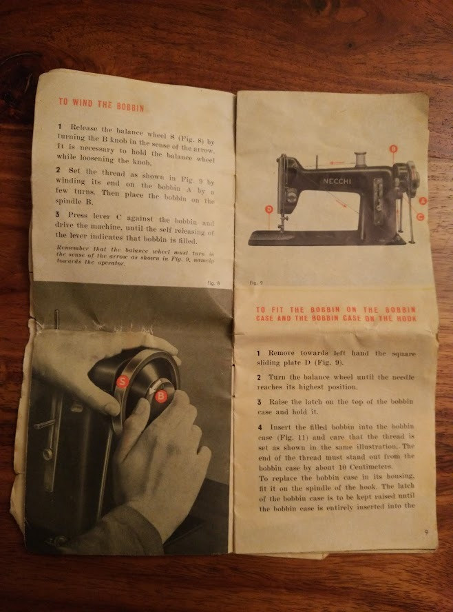 Bobbin winding instructions