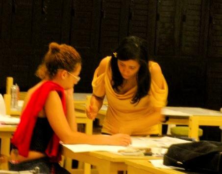 Woman Architect teaching design in Chavon