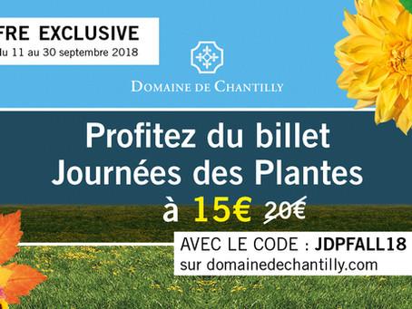 Retrouvez-nous aux journées des plantes de Chantilly, édition d'automne, stand 168