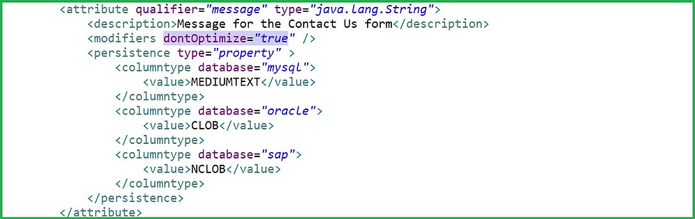 dontOptimize with database type for performance.