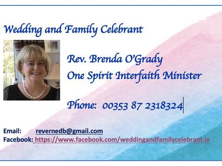 Rev. Brenda O'Grady Wedding Solemniser & Family Celebrant