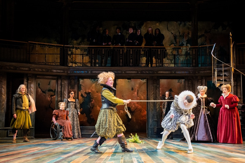Claire Price (Petruchia) and Joseph Arkley (Katherine) in Justin Audibert's production of The Taming of the Shrew for the RSC. c Ikin Yum Photgraphy