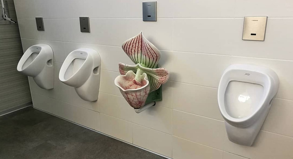 The Raffeiner Orchid World near Bolzano (Italy) has a themed toilet among the normal ones (photo Paolo Cocco)