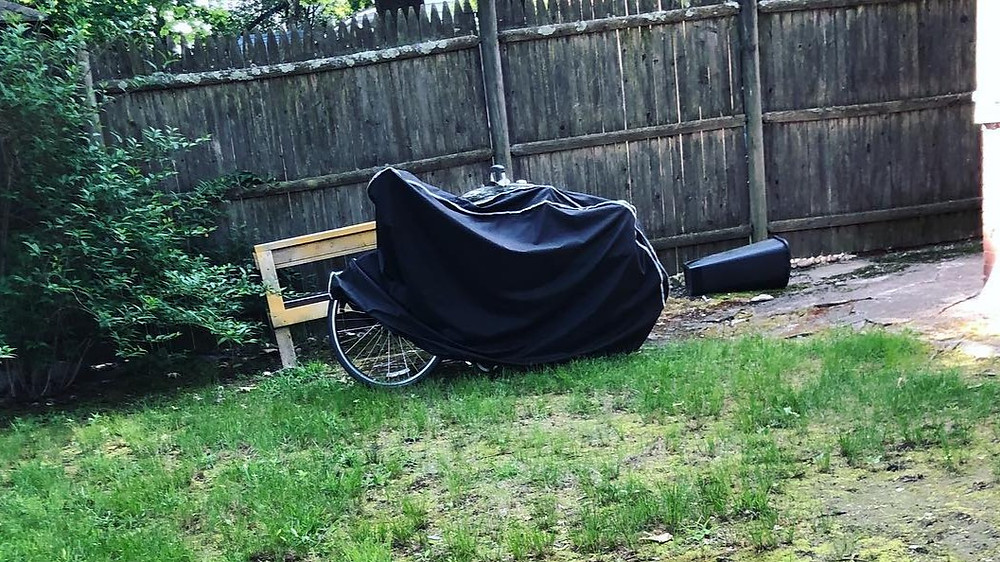Bike locked up in backyard