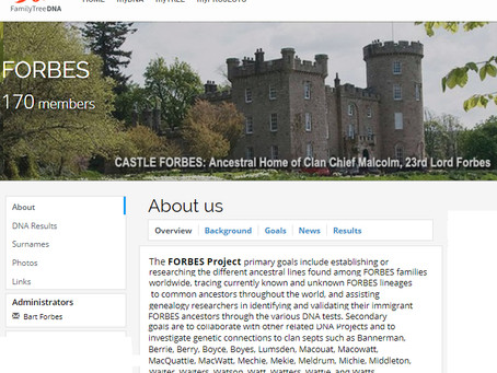 Forbes Surname Y-DNA Group Rebooted at Family Tree DNA