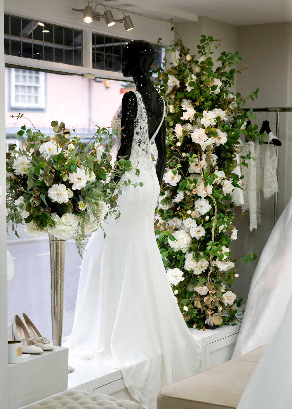 Faux Floral Columns and Table Centrepieces in Essex Bridal Wedding Shop