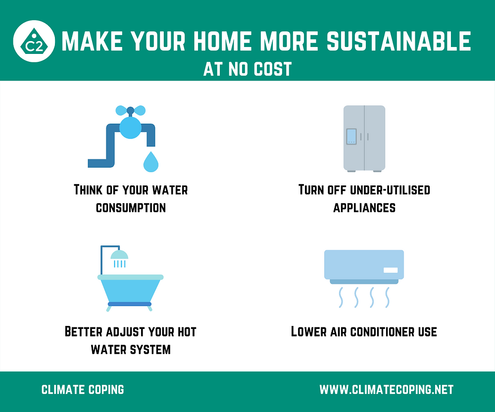 Sustainable tricks that don't cost anything, by Climate Coping. Infographics, sustainability, smart homes.