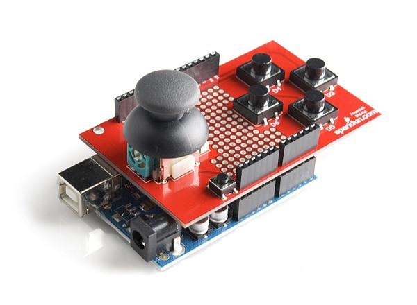 Легко управляйте своим роботом с помощью джойстика и  направляющих кнопок с помощью Arduino Joystick Shield