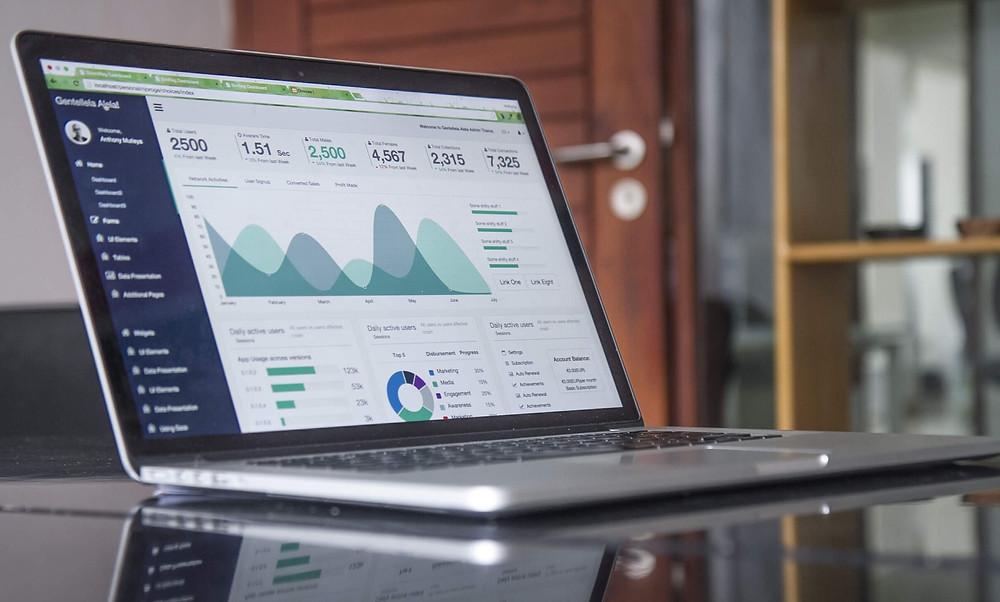 SEO site traffic analytics on a laptop