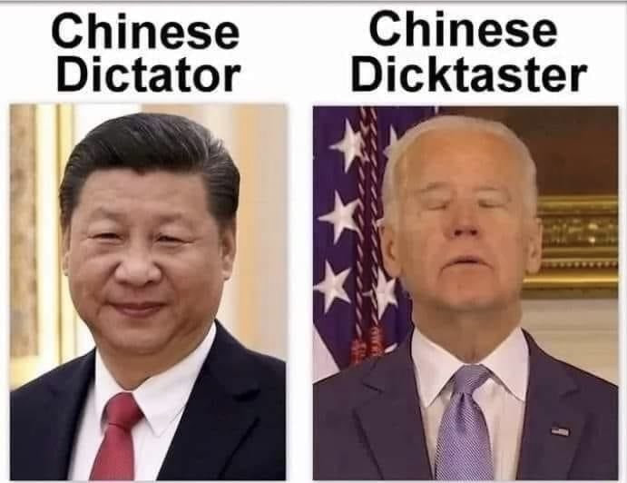 Chinese Dictator. Chinese Dictaster. Biden Meme