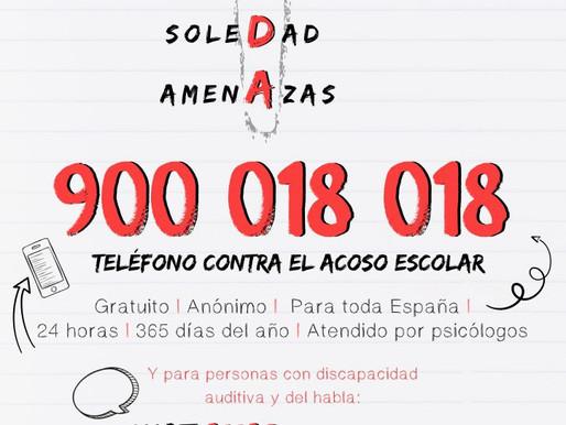 El 900 018 018, nuevo teléfono contra el acoso escolar