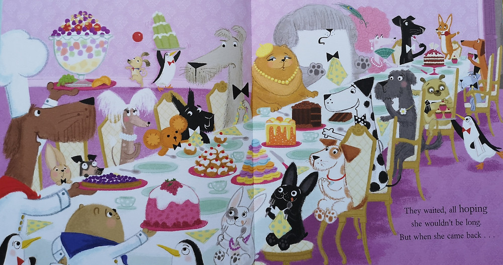 Image from shifty mcgifty and slippery sam the diamond chase the feast at woofington hall lots of dogs of different shapes and sizes, and one cat, sit around a table full of delicacies, macarons, buns, cake, wobbly jelly, pudding, icecreamwhile penguins serve them. kids books early readers book review children's kids picture book recommended reading illustrated illustration preschool nursery preschool rhyming action comedy funny crime mystery retro diamond theft caper detective dogs penguins baking bakers lady kate woofington scottie dog tracey corderoy steven lenton nosy crow