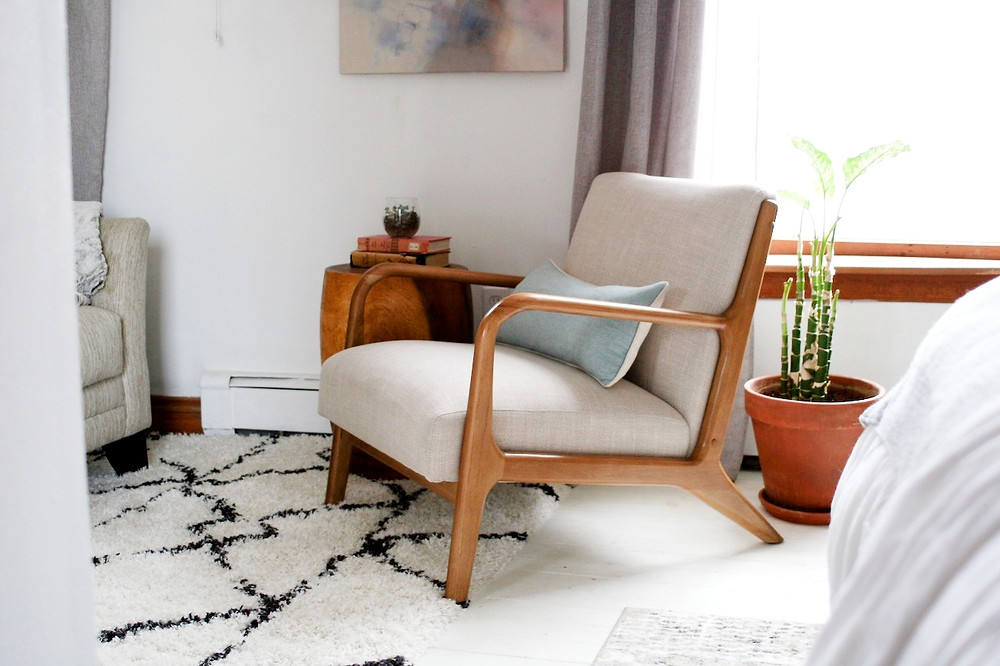 exposed wood accent chair and geometric shag rug Grand Rapids Michigan