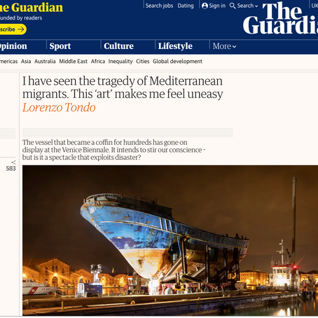 Lorenzo Tondo in The Guardian about the decision of the Venice Biennale to display a migrant boat