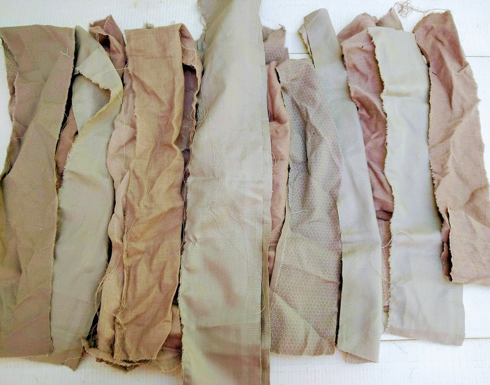 Tan and russet fabric strips