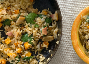 Pumpkin and Bacon, Spinach Risotto