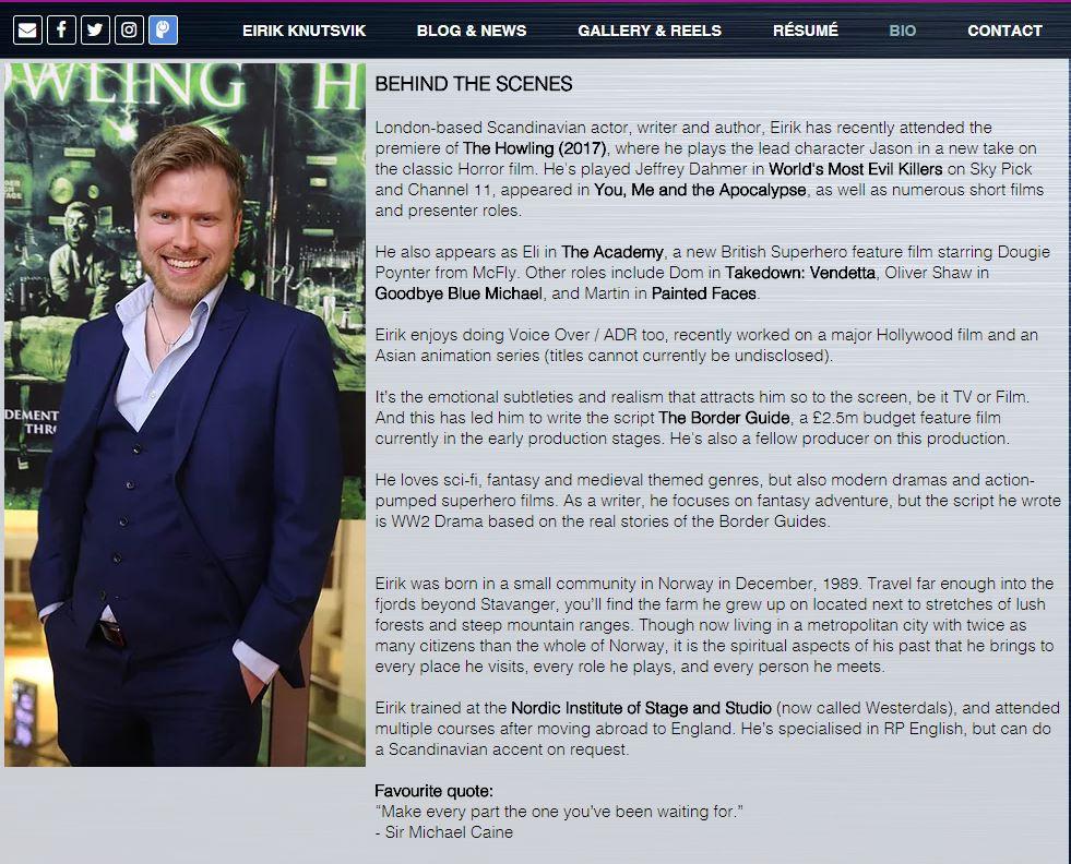 Eirik Knutsvik's Biography, as see on his website.
