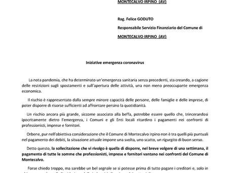 INIZIATIVE EMERGENZA CORONAVIRUS.  AL COMUNE DI MONTECALVO LA RICHIESTA DI PAGARE SUBITO I DEBITI.