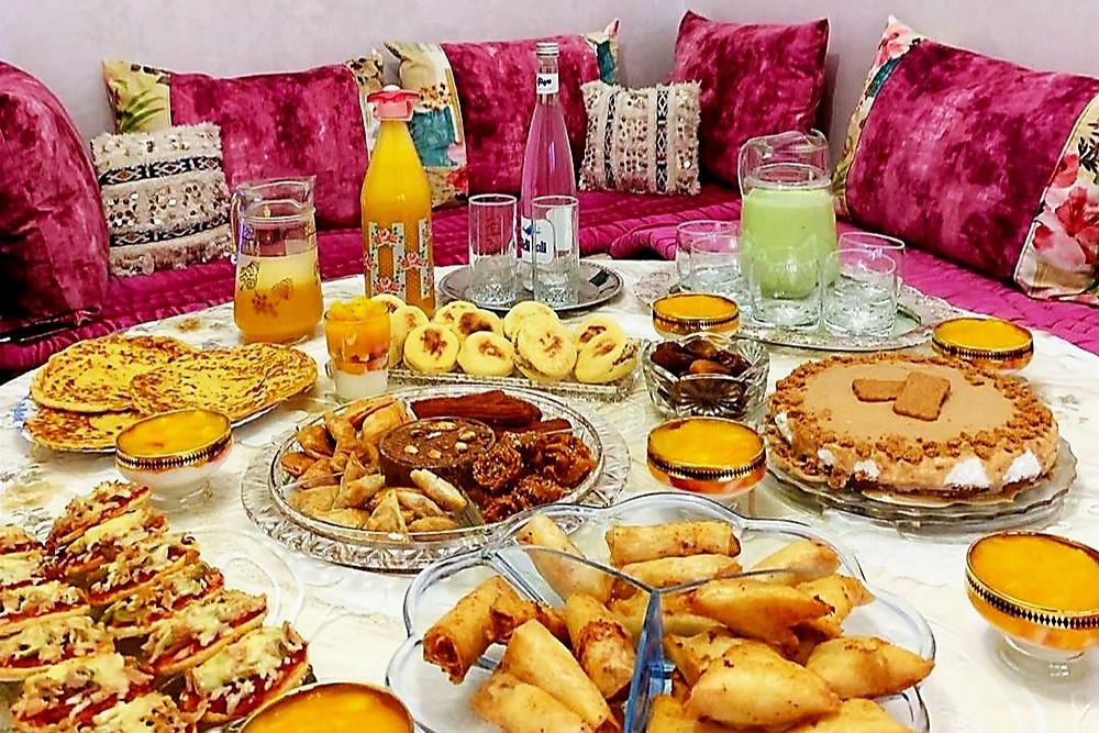 Chebakia, Mssamen, Briwat, Avocado juice, Orange juice, cake