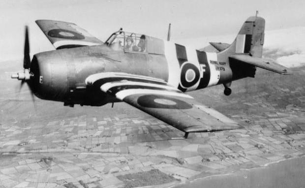 A Fleet Air Arm Wildcat in 1944, showing