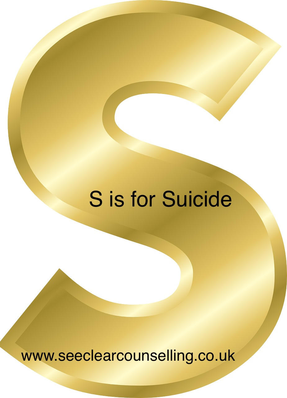 Gold letter S for suicide